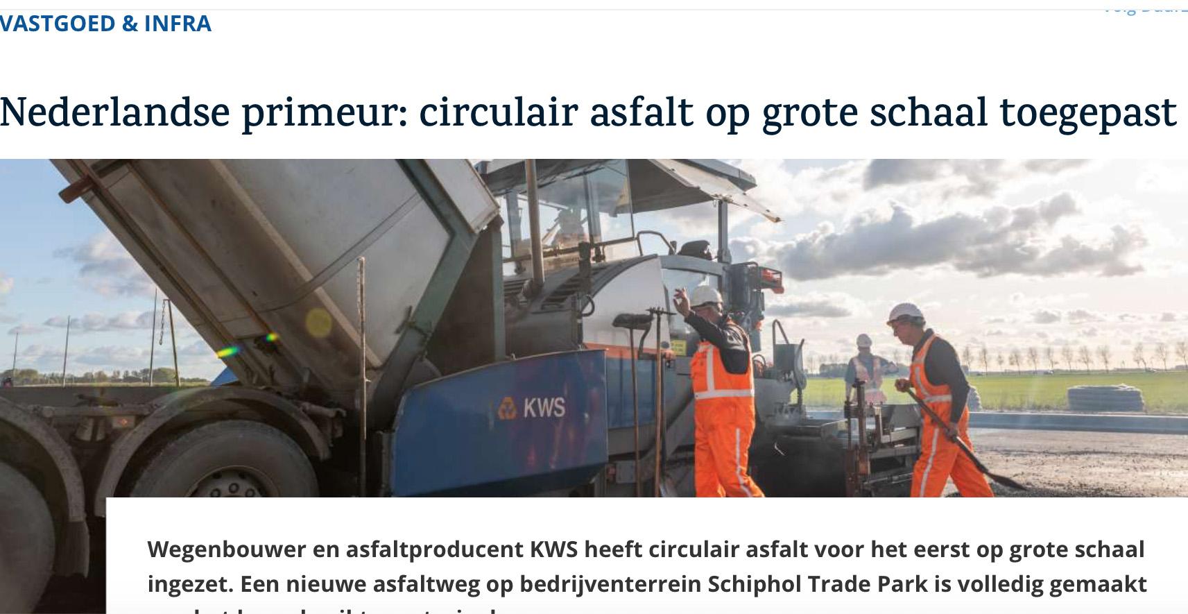 Nederlandse primeur: circulair asfalt op grote schaal toegepast